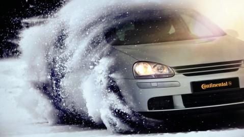 Continental VW Golf in Snow Winter cmyk, Continental VW Golf im Schnee Winter cmyk,