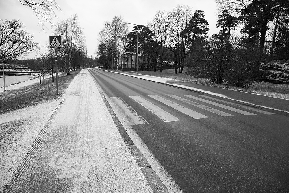 Road cover by snow in winter,Helsinki,Finland