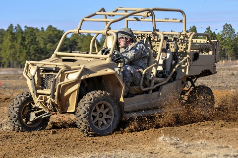 A paratrooper assigned to the 1st Battalion, 325th Airborne, 2nd Brigade Combat Team, 82nd Airborne Division, drives a Light Tactical All Terrain Vehicle through a familiarization course on Fort Bragg, N.C., Jan. 22, 2015. Looking to provide the Global Response Force with increased mobility during airfield seizure operations, the Red Falcons are assessing the capabilities of the LTATV to provide a rifle company with an air-droppable maneuver and small arms platform and will incorporate the vehicle into upcoming training events to include the division's Combined Joint Operational Access Exercise 15-01 in April. (82nd Airborne Division photo by Sgt. Eliverto V. Larios/Released)