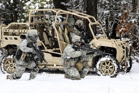 A team of paratroopers assigned to the 1st Battalion, 325th Airborne Infantry Regiment, 2nd Brigade Combat Team, 82nd Airborne Division, practice a tactical halt with the brigade's new Light Tactical All Terrain Vehicle on Fort Pickett, Va., Feb. 26, 2015. The 1st Battalion, 325th AIR developed tactics, techniques and procedures for tactical movement with the new LTATVs. The battalion is currently assessing the LTATV as a platform to provide a rifle company with rapid mobility in support of airfield seizure operations.