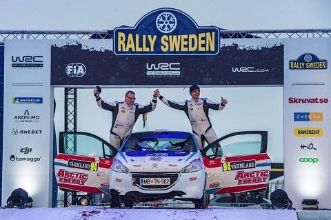 Donatas Zvicevičius ir Deividas Jocius (iš kairės) Švedijos ralio finiše_2